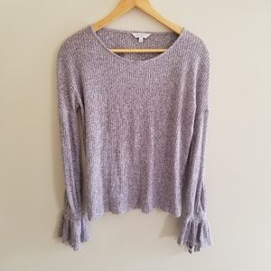 Lilac Ribbed Bell Sleeve Lucky Brand Sweater